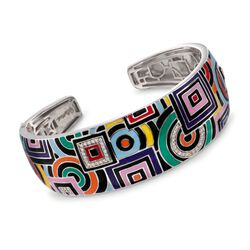 "Belle Etoile ""Geometrica"" Multicolored Enamel and .25 ct. t.w. CZ Cuff Bracelet in Sterling Silver. 7"", , default"