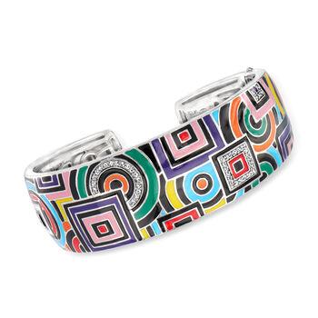 """Belle Etoile """"Geometrica"""" Multicolored Enamel and .25 ct. t.w. CZ Cuff Bracelet in Sterling Silver. 7"""", , default"""