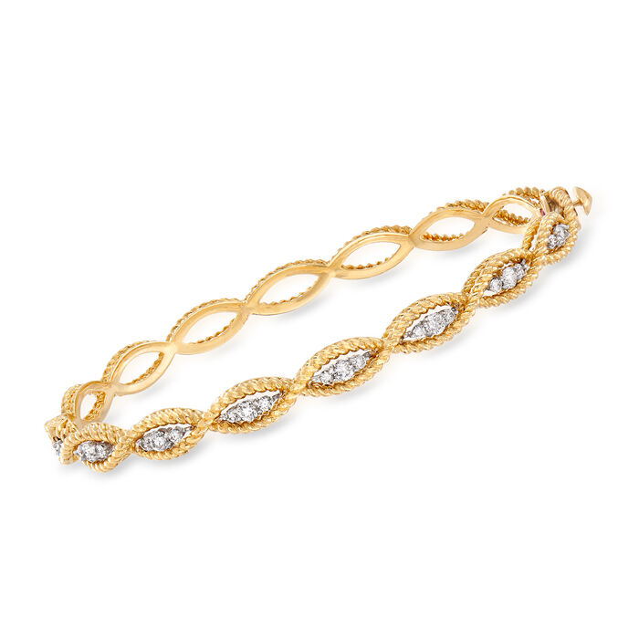 """Roberto Coin """"Barocco"""" .56 ct. t.w. Diamond Twisted Bracelet in 18kt Two-Tone Gold. 7"""""""