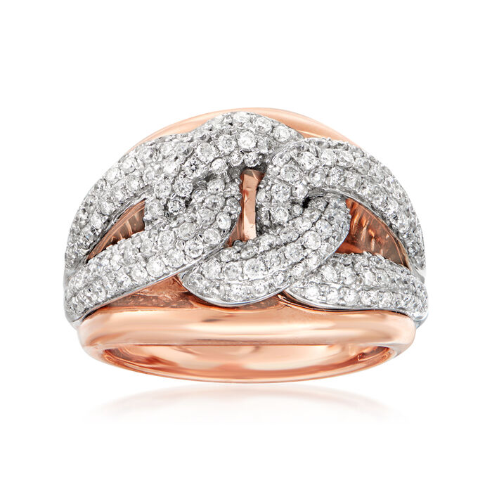 1.30 ct. t.w. Diamond Cuban-Link Ring in 14kt Two-Tone Gold. Size 7, , default