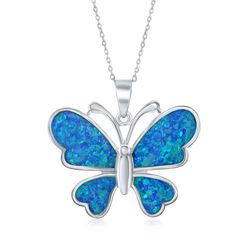"Blue Synthetic Opal Butterfly Pendant Necklace in Sterling Silver. 18"", , default"