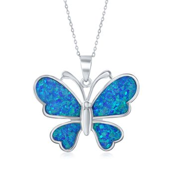"""Blue Synthetic Opal Butterfly Pendant Necklace in Sterling Silver. 18"""", , default"""