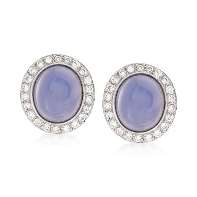 C. 1980 Vintage Chalcedony and 1.35 ct. t.w. Diamond Earrings in 18kt White Gold