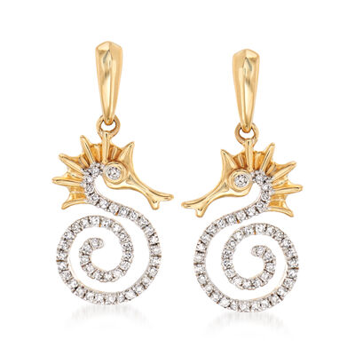 .20 ct. t.w. Diamond Seahorse Drop Earrings in 14kt Yellow Gold