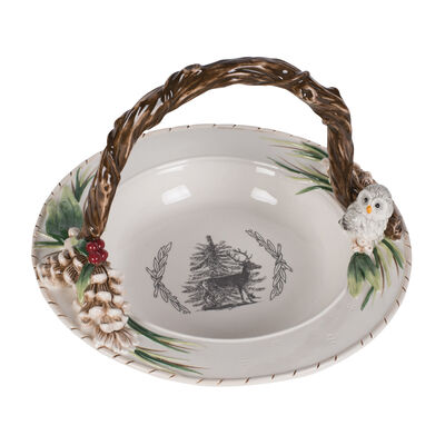 "Fitz and Floyd ""Forest Frost"" Round Basket"