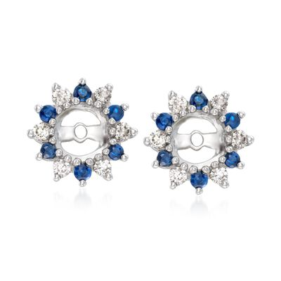 .30 ct. t.w. Sapphire and .24 ct. t.w. Diamond Earring Jackets in 14kt White Gold
