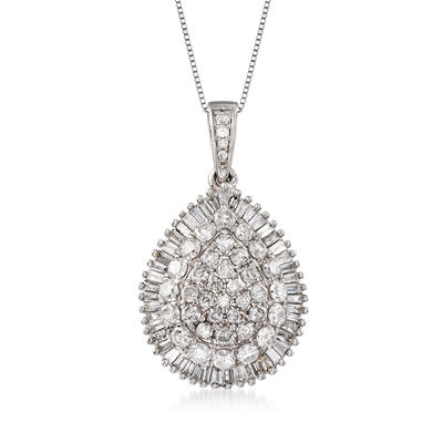 2.00 ct. t.w. Diamond Teardrop Pendant Necklace in 14kt White Gold, , default