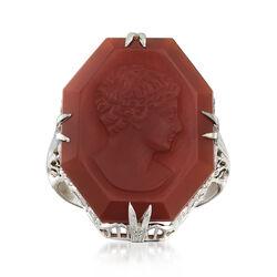 C. 1980 Vintage Red Carnelian Intaglio Ring in 18kt White Gold, , default