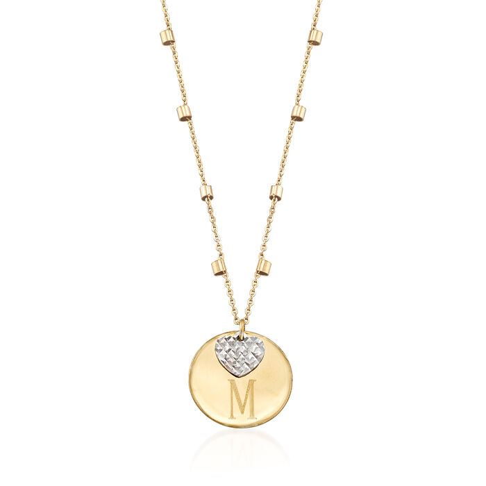 14kt Two-Tone Gold Single Initial Disc and Heart Drop Necklace, , default