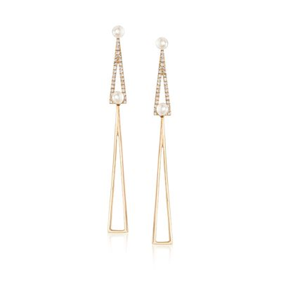 3.5mm Cultured Pearl and .27 ct. t.w. Diamond Open-Space Elongated Triangle Drop Earrings in 14kt Gold, , default