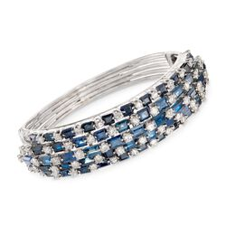 "C. 1970 Vintage 25.00 ct. t.w. Sapphire and 6.00 ct. t.w. Diamond Bangle Bracelet in 14kt White Gold. 7"", , default"