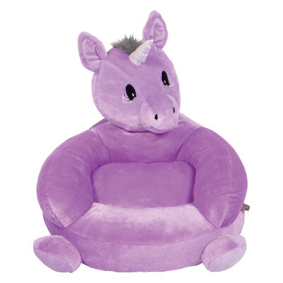 Children's Plush Purple Unicorn Chair, , default