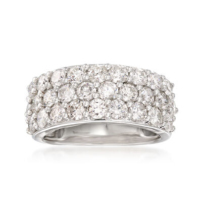 3.00 ct. t.w. Diamond Three-Row Ring in 14kt White Gold with Rhodium, , default