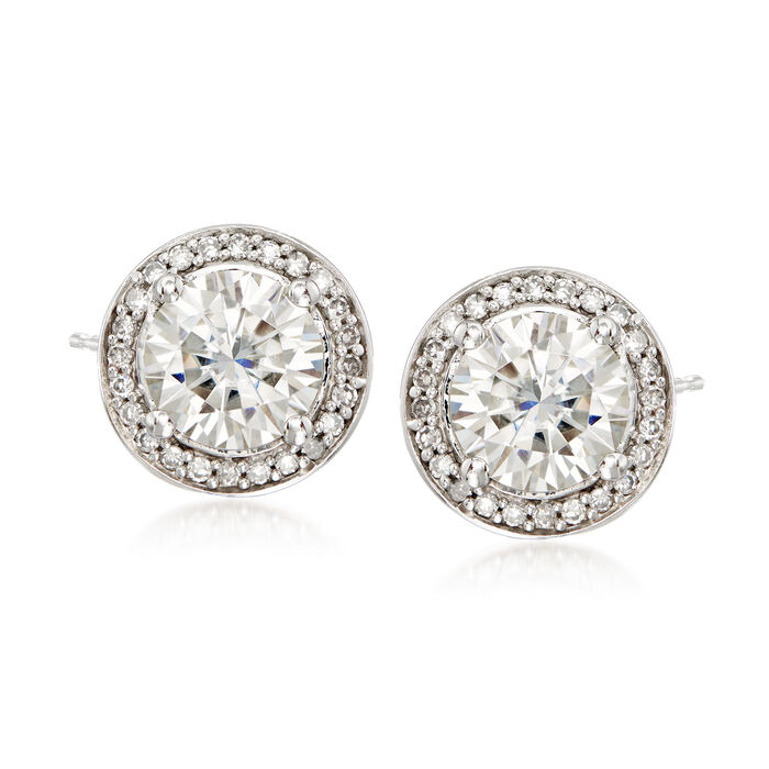 2.00 ct. t.w. Synthetic Moissanite and .19 ct. t.w. Diamond Earrings in 14kt White Gold