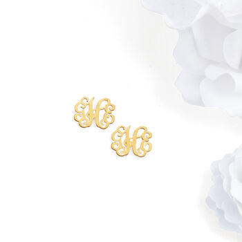 14kt Yellow Gold Small Monogram Earrings