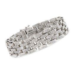 Sterling Silver Textured and Stacked Link Bracelet, , default