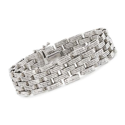 Sterling Silver Textured and Stacked Link Bracelet, , default