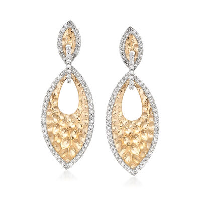 .85 ct. t.w. Diamond Marquise Textured Drop Earrings in 14kt Two-Tone Gold, , default