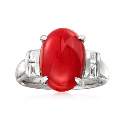 C. 1990 Vintage Coral and .33 ct. t.w. Diamond Ring in Platinum, , default
