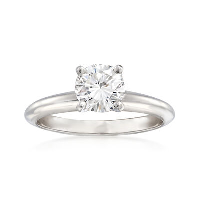 1.00 Carat Certified Diamond Solitaire Engagement Ring in 14kt White Gold, , default