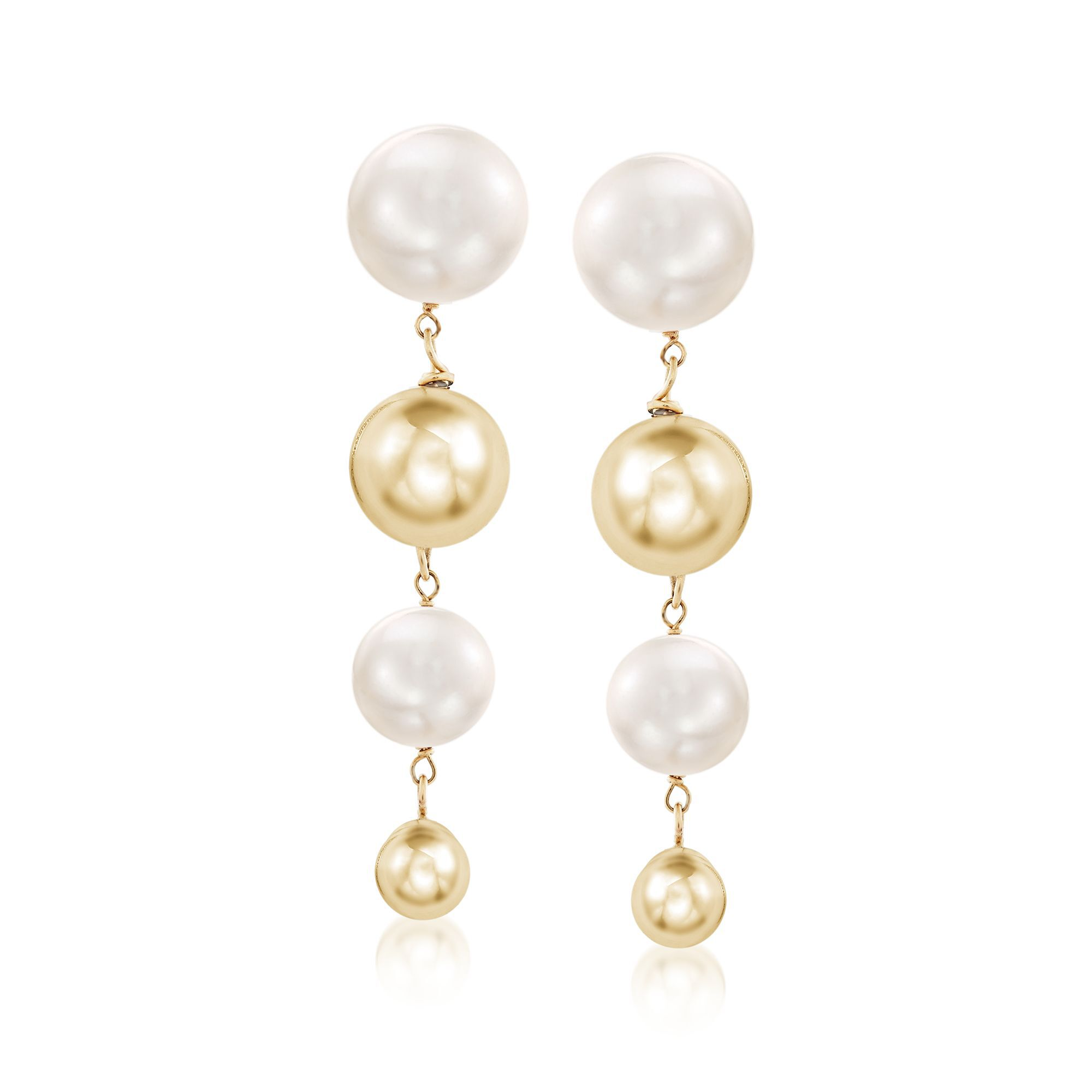 Pearl Earrings 14k Yellow Gold Dangle 6.5-10mm Graduated White Freshwater Pearl