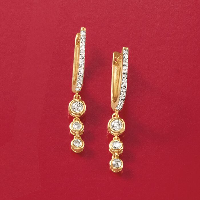 .29 ct. t.w. Graduated Bezel-Set Diamond Drop Earrings in 14kt Yellow Gold