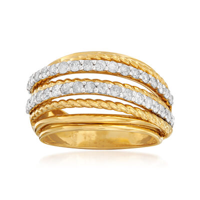 1.00 ct. t.w. Diamond and Rope-Style Highway Ring in 18kt Gold Over Sterling