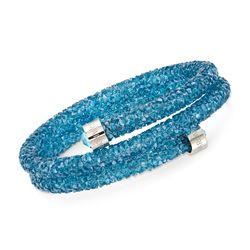 "Swarovski Crystal ""Crystaldust"" Aqua Crystal Coil Bangle Bracelet With Stainless Steel, , default"