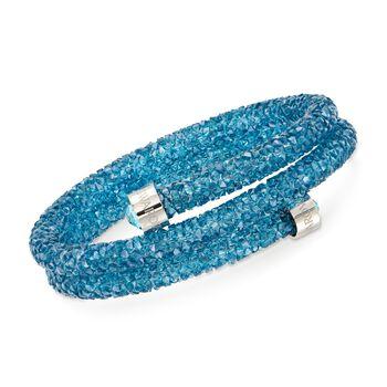 "Swarovski Crystal ""Crystaldust"" Aqua Crystal Coil Bangle Bracelet With Stainless Steel. 7"", , default"