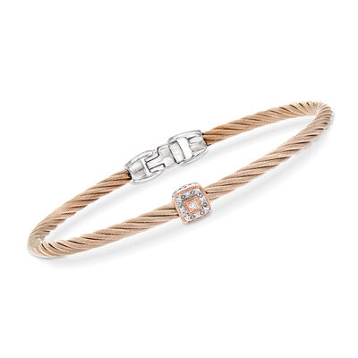"ALOR ""Shades of Alor"" Blush Carnation Cable Station Bracelet with Diamond Accents in Stainless Steel and 18kt White and Rose Gold"