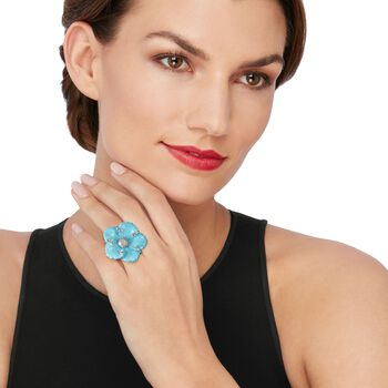 Italian Simulated Turquoise and .40 ct. t.w. CZ Flower Ring in Sterling Silver, , default