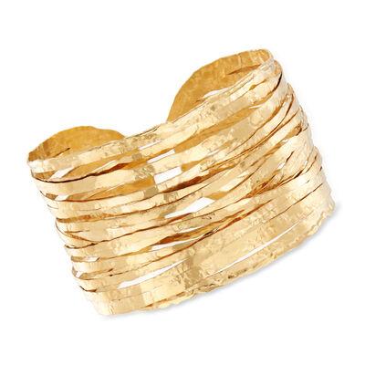 Italian Hammered 18kt Yellow Gold Wire Cuff Bracelet