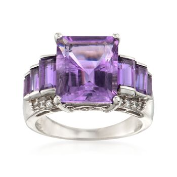 7.40 ct. t.w. Amethyst and .10 ct. t.w. Zircon Ring in Sterling Silver, , default