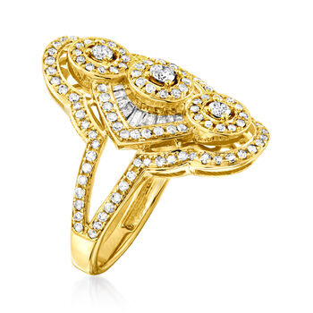 1.00 ct. t.w. Diamond Vintage-Style Ring in 14kt Yellow Gold