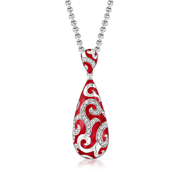 """Belle Etoile """"Royale"""" Red Enamel and .27 ct. t.w. CZ Pendant in Sterling Silver"""