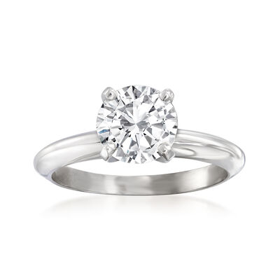 1.53 Carat Certified Diamond Solitaire Ring in 14kt White Gold