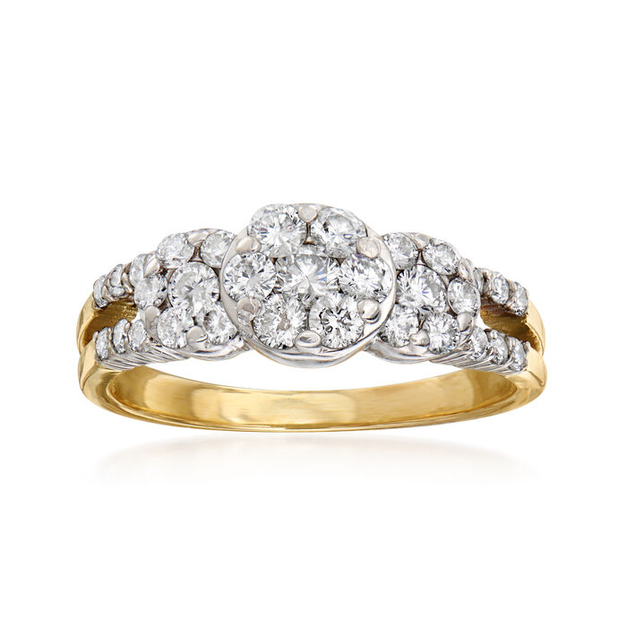 C. 1980 Vintage 1.05 ct. t.w. Diamond Cluster Ring in 14kt Two-Tone Gold. Size 8