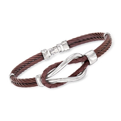 ALOR Men's Brown Stainless Steel Cable Knot Bracelet