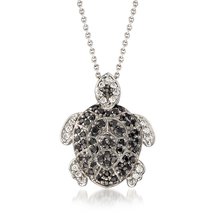 ".50 ct. t.w. Black Spinel and .19 ct. t.w. White Zircon Turtle Pendant Necklace in Sterling Silver. 18"", , default"