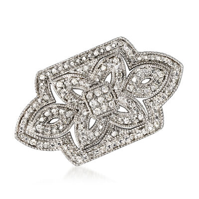 1.00 ct. t.w. Diamond Floral Open-Space Pin in Sterling Silver, , default