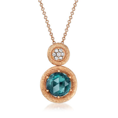 C. 1990 Vintage Giantti 3.70 Carat Blue Topaz and .11 ct. t.w. Diamond Necklace in 18kt Yellow Gold, , default