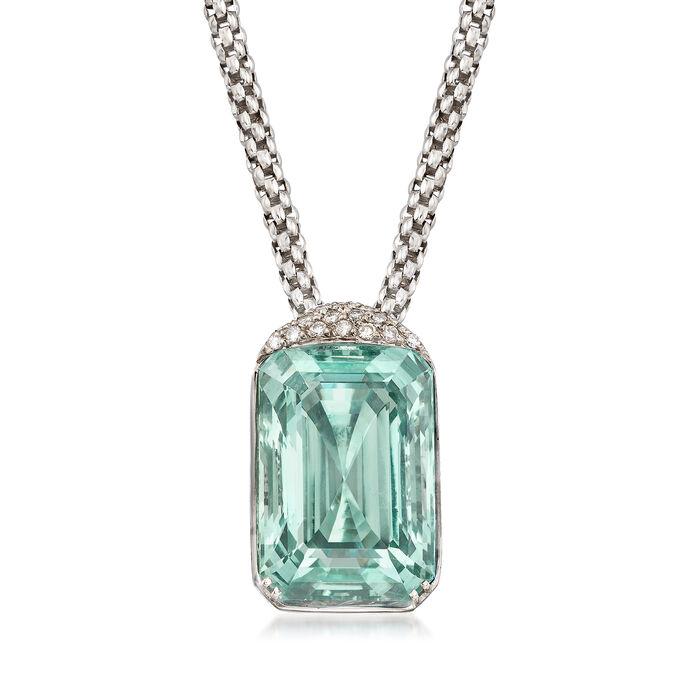 "C. 1990 Vintage 75.00 Carat Aquamarine and .55 ct. t.w. Diamond Pendant Necklace in 18kt White Gold. 19"""