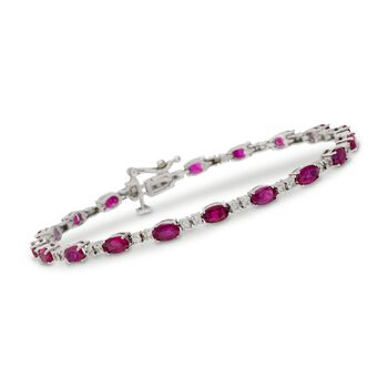 "5.95 ct. t.w. Ruby and .70 ct. t.w. Diamond Bracelet in 14kt White Gold. 7"", , default"