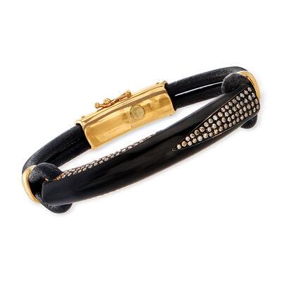 C. 2000 Vintage Bucherer 1.25 ct. t.w. Cognac Diamond Leather Bracelet in 18kt Rose Gold