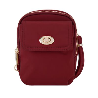 "Travelon ""Anti-Theft Tailored"" Garnet Nylon Twill Crossbody Phone Pouch"