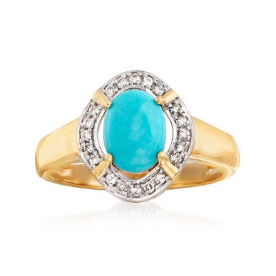 Stabilized Turquoise and .12 ct. t.w. Diamond Ring in 14kt Yellow Gold