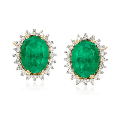 2.30 ct. t.w. Emerald and .24 ct. t.w. Diamond Stud Earrings in 14kt Yellow Gold, , default