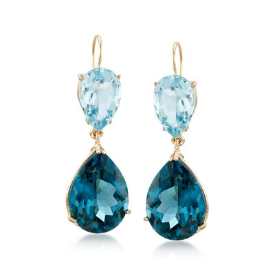 25.00 ct. t.w. Tonal Blue Topaz Dangle Earrings in 14kt Yellow Gold, , default