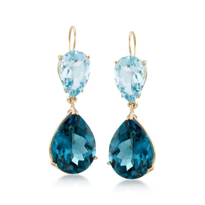 25.00 ct. t.w. Tonal Blue Topaz Dangle Earrings in 14kt Yellow Gold, , default