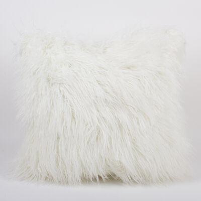 Set of 2 White Mongolian Fur Throw Pillows, , default